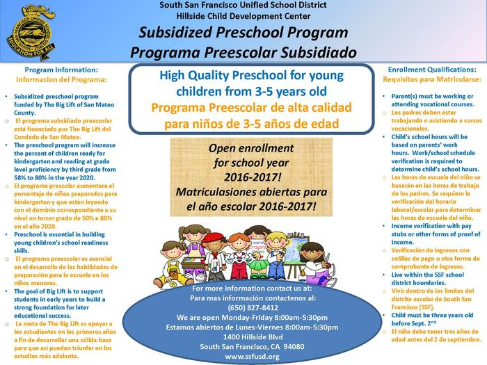 Hillside Preschool Program